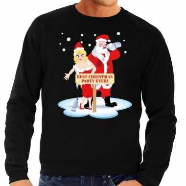 Foute kersttrui dronken kerstman en kerstvrouw zwart man