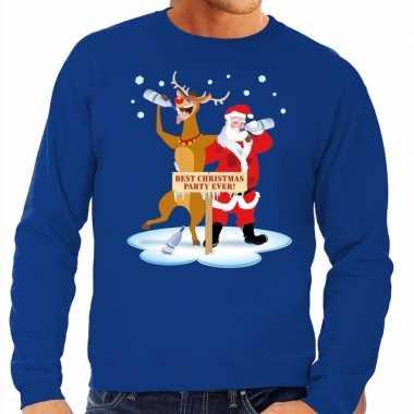 Foute kersttrui dronken kerstman en rendier rudolf blauw man