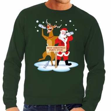 Foute kersttrui dronken kerstman en rendier rudolf groen man