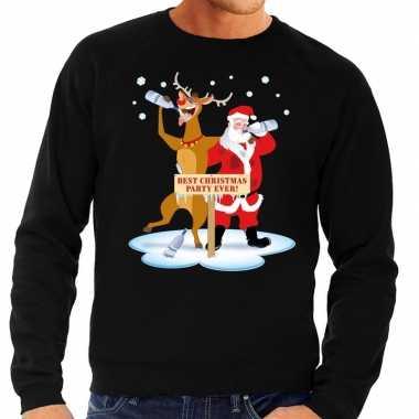 Foute kersttrui dronken kerstman en rendier rudolf zwart man