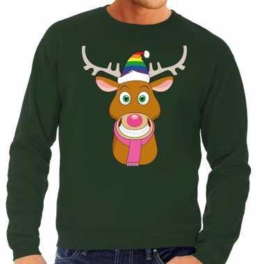 Foute kersttrui gay rudolf het rendier groen man