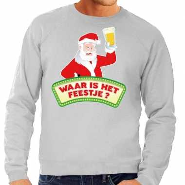 Foute kersttrui grijs waar is het feestje voor man