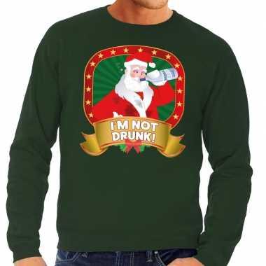 Foute kersttrui groen im not drunk voor man
