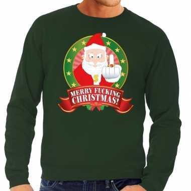 Foute kersttrui groen merry fucking christmas voor man