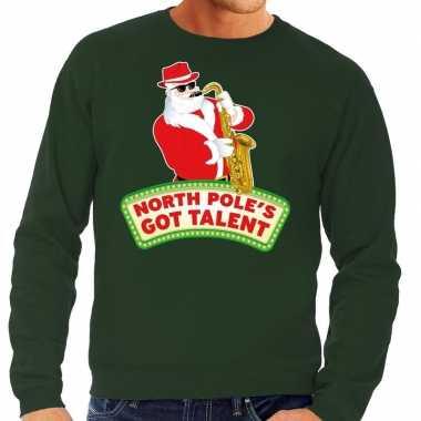 Foute kersttrui groen north poles got talent voor man