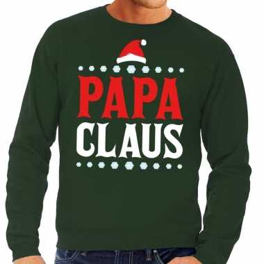 Foute kersttrui groen papa claus voor man