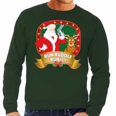Foute kersttrui groen run rudolf run voor man