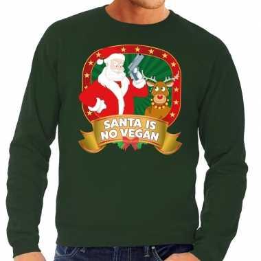 Foute kersttrui groen santa is no vegan voor man