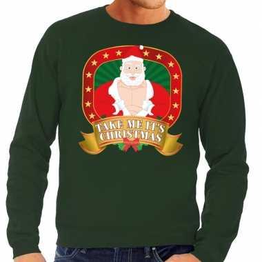Foute kersttrui groen take me its christmas voor man