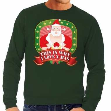 Foute kersttrui groen this is why i love christmas voor man