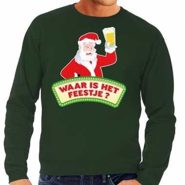 Foute kersttrui groen waar is het feestje voor man