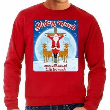 Foute kersttrui history repeats rood voor man