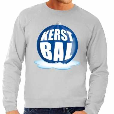 Foute kersttrui kerstbal blauw op grijze sweater voor man