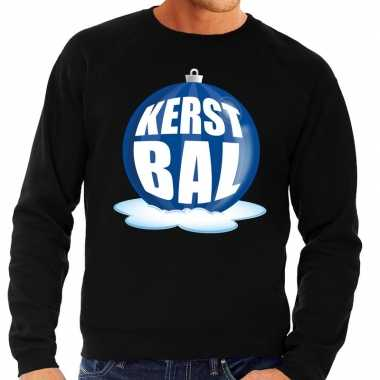 Foute kersttrui kerstbal blauw op zwarte sweater voor man