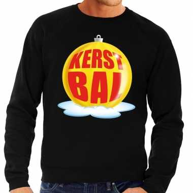 Foute kersttrui kerstbal geel op zwarte sweater voor man