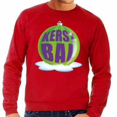 Foute kersttrui kerstbal groen op rode sweater voor man
