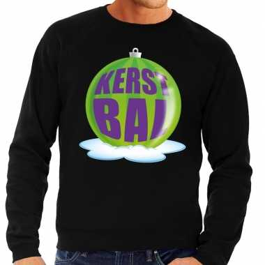 Foute kersttrui kerstbal groen op zwarte sweater voor man