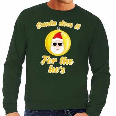 Foute kersttrui kerstman does it for the ho's groen voor man