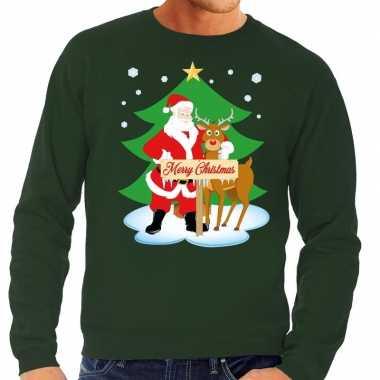 Foute kersttrui kerstman en rendier rudolf groen man