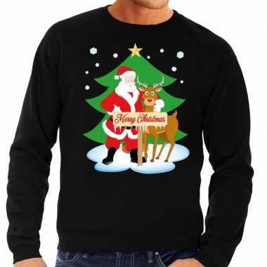 Foute kersttrui kerstman en rendier rudolf zwart man
