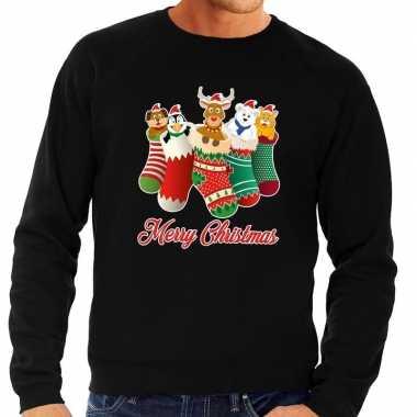 Foute kersttrui kerstsokken merry christmas zwart voor man