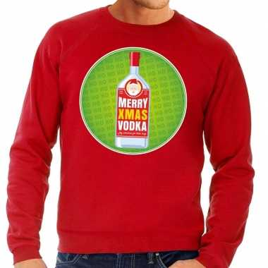 Foute kersttrui merry christmas vodka rood man