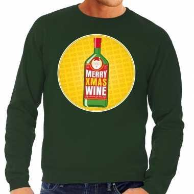 Foute kersttrui merry christmas wine groen man