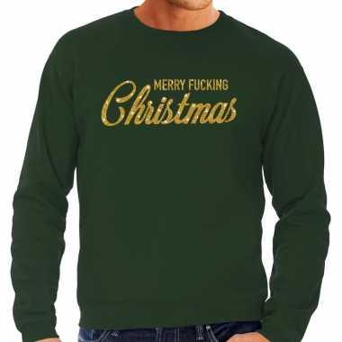 Foute kersttrui merry fucking christmas goud glitter groen man