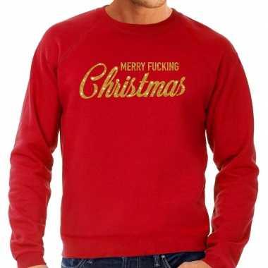 Foute kersttrui merry fucking christmas goud glitter rood man