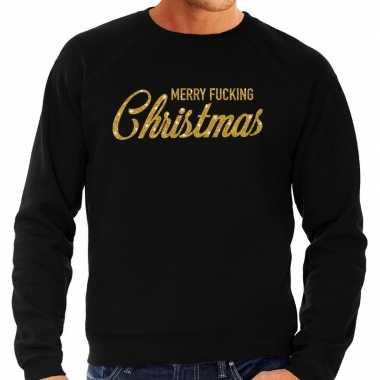 Foute kersttrui merry fucking christmas goud glitter zwart man