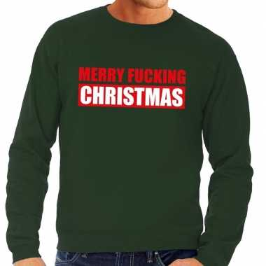 Foute kersttrui merry fucking christmas groen voor man