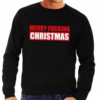 Foute kersttrui merry fucking christmas zwart voor man