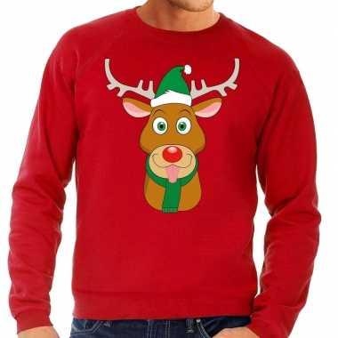 Foute kersttrui rendier rudolf met groene kerstmuts rood man