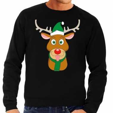 Foute kersttrui rendier rudolf met groene kerstmuts zwart man