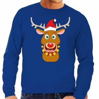 Foute kersttrui rendier rudolf met rode kerstmuts blauw man