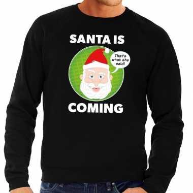 Foute kersttrui santa is coming zwart voor man