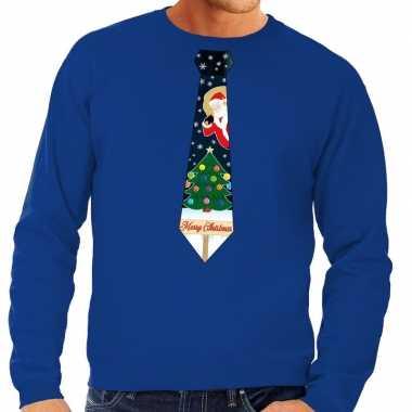 Foute kersttrui stropdas met kerst print blauw voor man