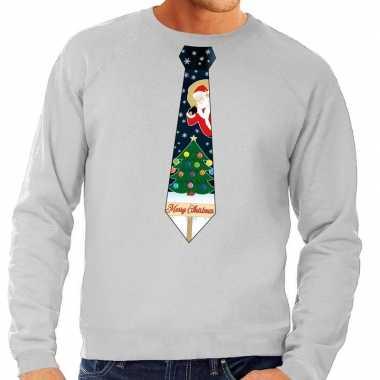 Foute kersttrui stropdas met kerst print grijs voor man