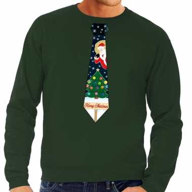 Foute kersttrui stropdas met kerst print groen voor man