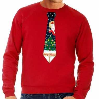 Foute kersttrui stropdas met kerst print rood voor man
