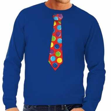 Foute kersttrui stropdas met kerstballen print blauw voor man