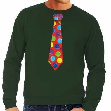 Foute kersttrui stropdas met kerstballen print groen voor man