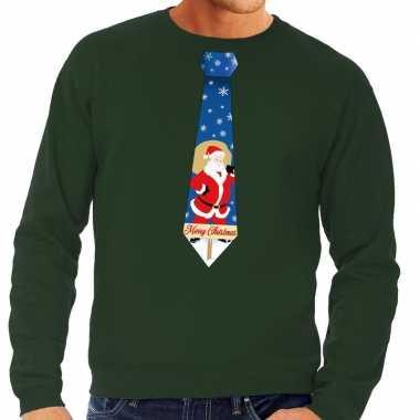 Foute kersttrui stropdas met kerstman print groen voor man