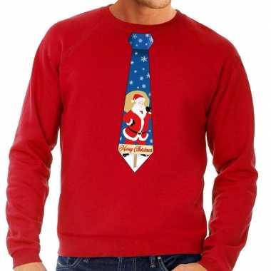 Foute kersttrui stropdas met kerstman print rood voor man