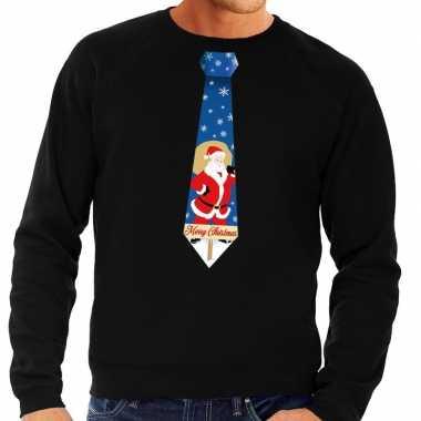 Foute kersttrui stropdas met kerstman print zwart voor man