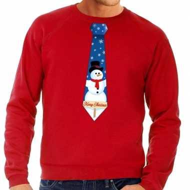 Foute kersttrui stropdas met sneeuwpop print rood voor man