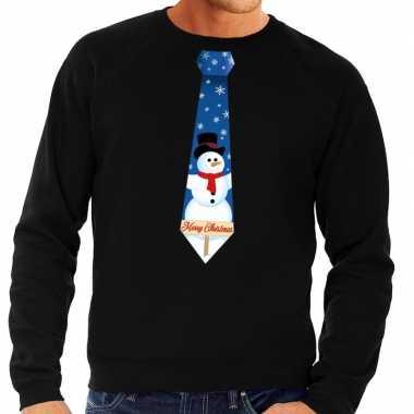 Foute kersttrui stropdas met sneeuwpop print zwart voor man