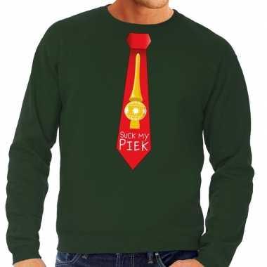 Foute kersttrui stropdas suck my piek groen voor man