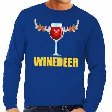 Foute kersttrui winedeer blauw voor man