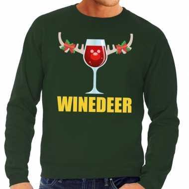 Foute kersttrui winedeer groen voor man